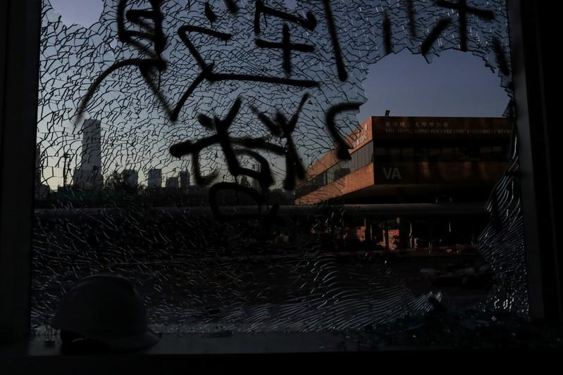 Shattered glass is seen at Hong Kong Polytechnic University (PolyU), in Hong Kong