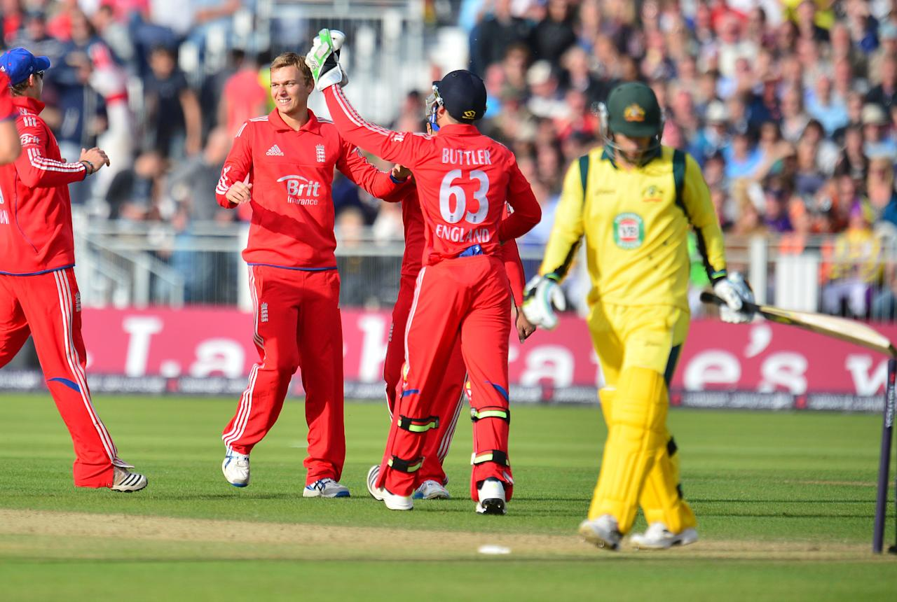 England's Danny Briggs celebrates the wicket of Australia's Mathew Wade during the second NatWest International T20 at the Emirates Durham ICG, Durham.