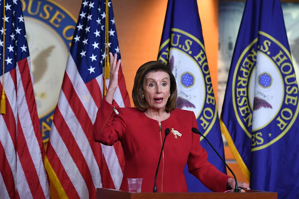 House Speaker Nancy Pelosi, D-CA, speaks during a press conference at the US Capitol in Washington, DC on September 8, 2021. (Photo by MANDEL NGAN / AFP) (Photo by MANDEL NGAN/AFP via Getty Images)