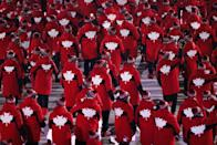 <p>Members of team Canada during the Opening Ceremony of the PyeongChang 2018 Winter Olympic Games at PyeongChang Olympic Stadium on February 9, 2018 in Pyeongchang-gun, South Korea. (Photo by Jamie Squire/Getty Images) </p>