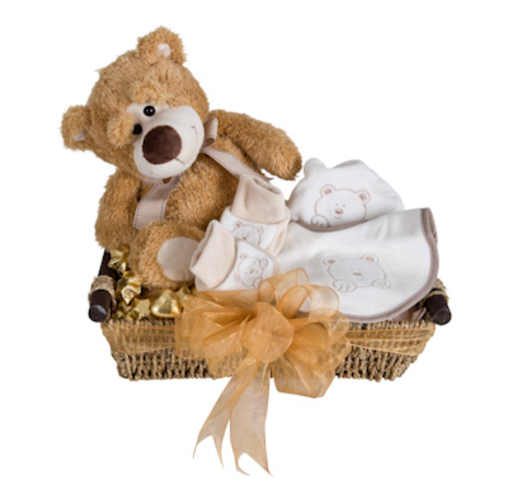 Little chocolates with a teddy bear and matching bib, booties and beanie set