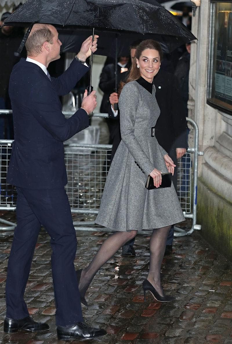 The Duke and Duchess of Cambridge arrive at Central Hall in Westminster, London, to attend the UK Holocaust Memorial Day Commemorative Ceremony. (PA)