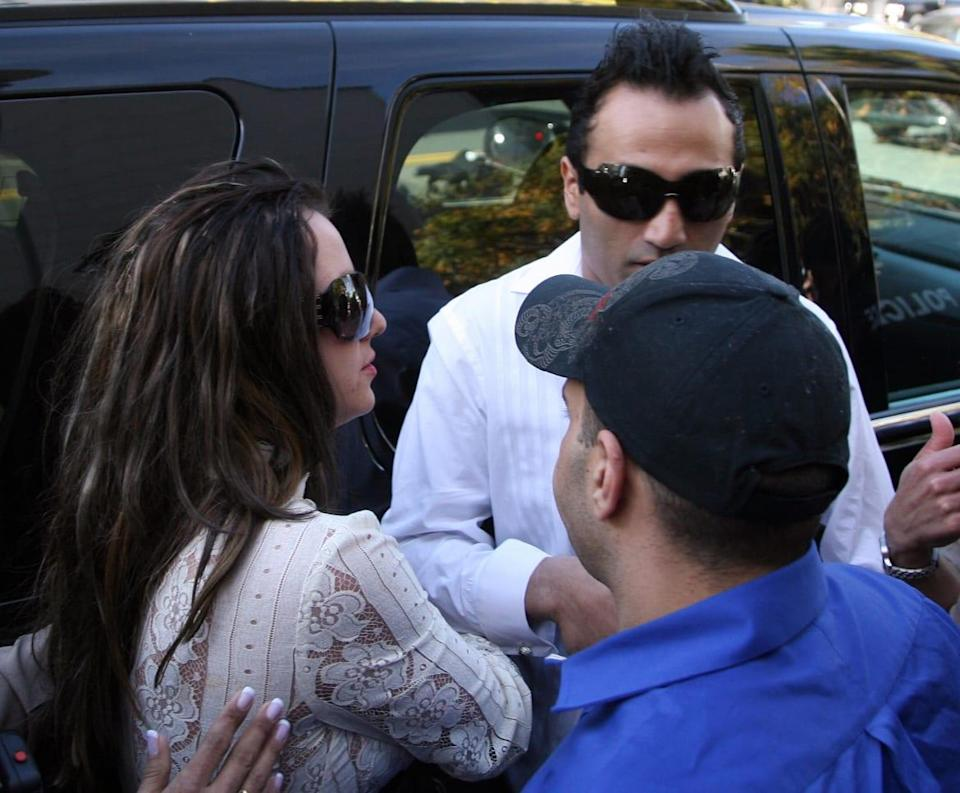 """<div class=""""inline-image__caption""""><p>Britney Spears arrives with Adnan Ghalib for a 2008 hearing regarding visitation rights for her two sons.</p></div> <div class=""""inline-image__credit"""">Gabriel Bouys/AFP via Getty</div>"""