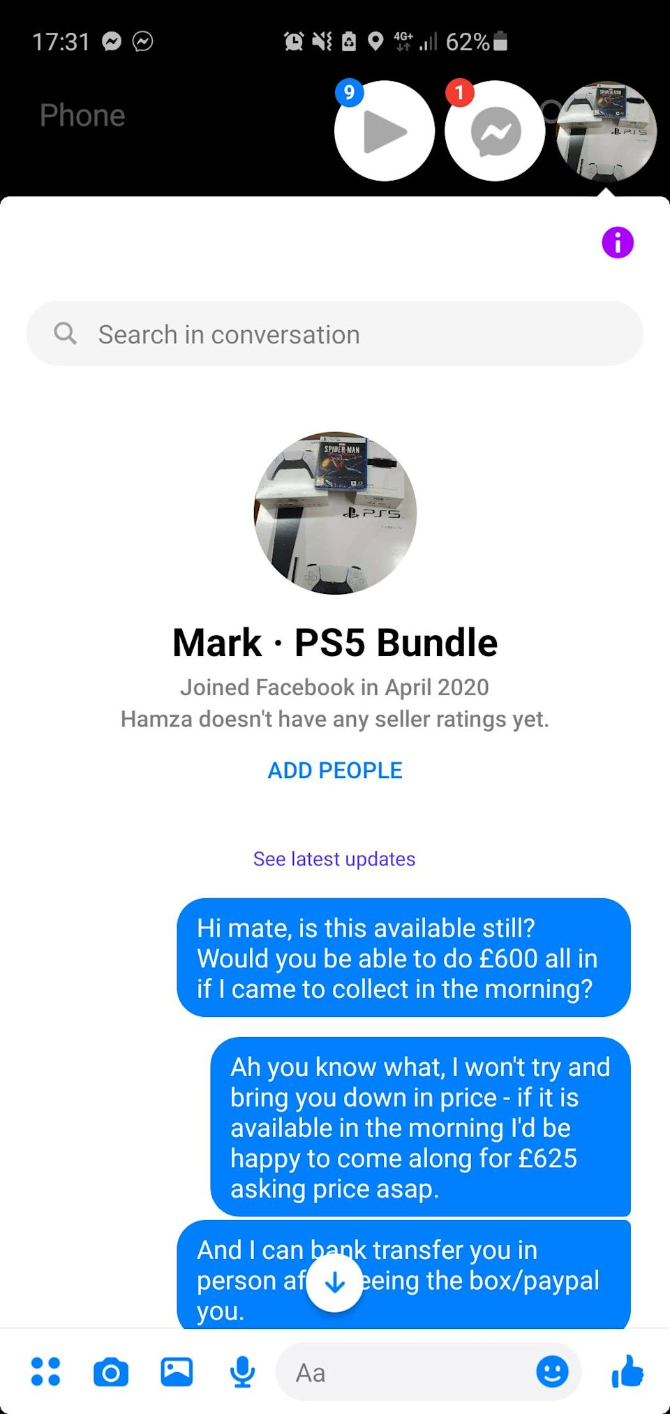 The messaging conversation Mark Lee had with someone supposedly selling a PS5. (SWNS)