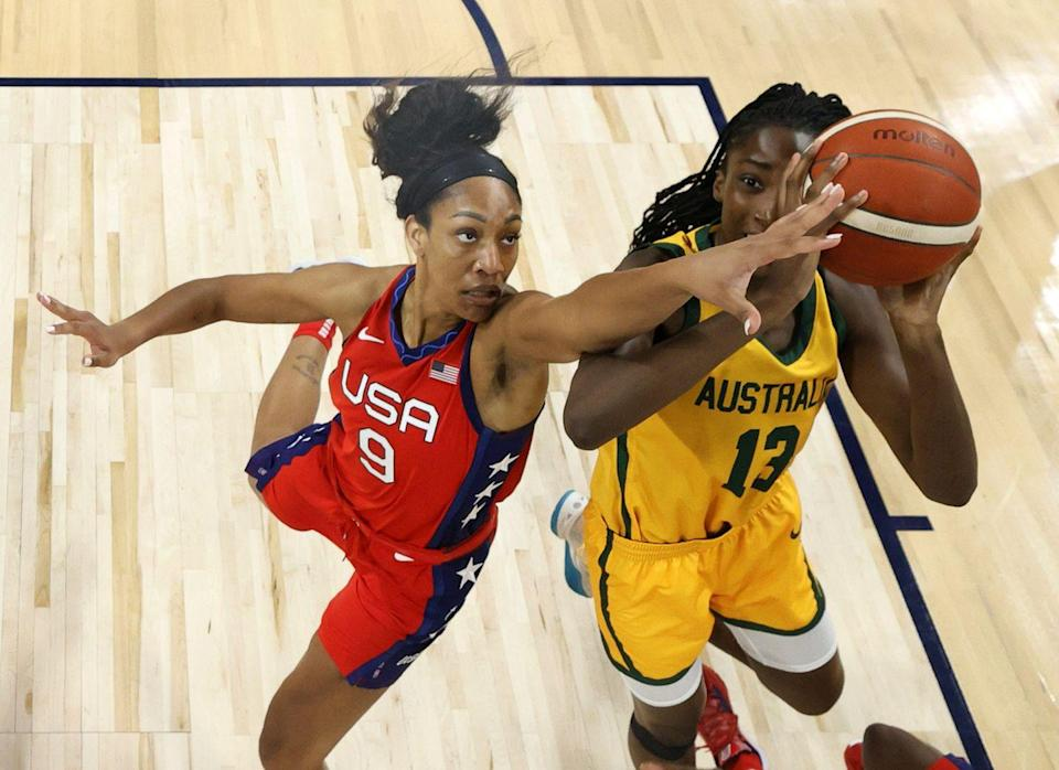 """<p><strong>Sport: </strong>Basketball</p><p>The WNBA star made such a name for herself at her alma mater, The University of South Carolina—she holds the school's record for the most points scored in women's basketball and led them to a national championship—that they <a href=""""https://go.redirectingat.com?id=74968X1596630&url=https%3A%2F%2Fwww.espn.com%2Fwomens-college-basketball%2Fstory%2F_%2Fid%2F30738990%2Faja-wilson-says-unveiling-statue-south-carolina-mlk-day-shows-how-just-plant-seeds-change&sref=https%3A%2F%2Fwww.oprahdaily.com%2Fentertainment%2Fg37027000%2Ffamous-black-athletes%2F"""" rel=""""nofollow noopener"""" target=""""_blank"""" data-ylk=""""slk:installed a statue of her"""" class=""""link rapid-noclick-resp"""">installed a statue of her</a> at their campus's sports arena. Wilson was the number one WNBA draft pick and later named Rookie of the Year in 2018. In 2020, she was dubbed league MVP. Now, Tokyo marks Wilson's first Olympics, and Team USA is favored to win gold.</p>"""
