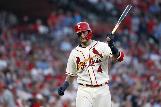 St. Louis Cardinals' Yadier Molina reacts after grounding into a force-out to end the sixth inning of a baseball game against the Atlanta Braves, Saturday, May 25, 2019, in St. Louis. (AP Photo/Jeff Roberson)