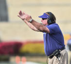 TCU head coach Gary Patterson reacts to a play against West Virginia during the second half of an NCAA college football game on Saturday, Nov. 14, 2020, in Morgantown, W.Va. (William Wotring/The Dominion-Post via AP)