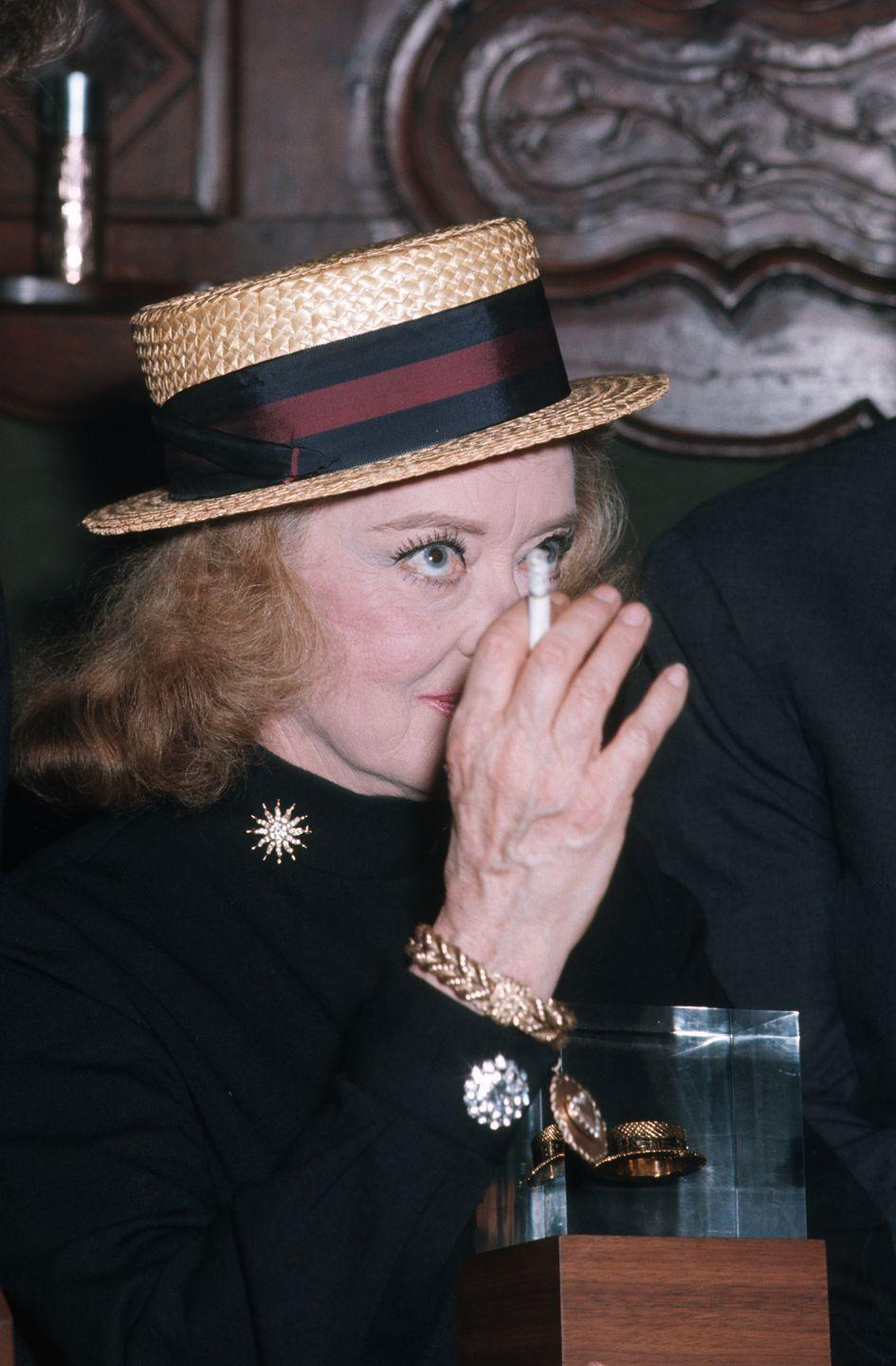 <p>Galella shot Davis many times throughout the star's life. Here, she attended the 1st Annual Straw Hat Awards party hosted by Fabergé in New York City in 1970.</p>
