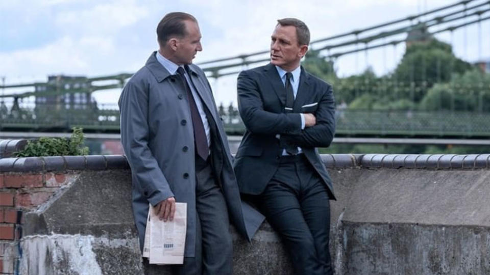M (Ralph Fiennes) and James Bond (Daniel Craig) in 'No Time to Die'. (Credit: Eon/Instagram)