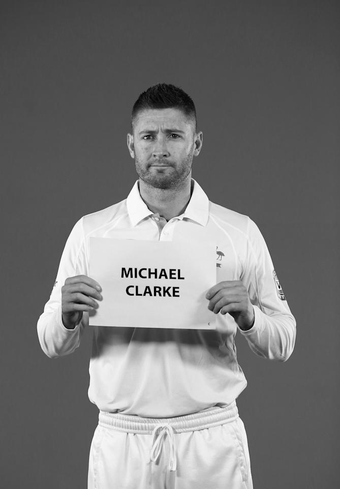 WORCESTER, ENGLAND - JULY 01:  (EDITORS NOTE: Image has been converted to black and white) Michael Clarke of Australia looks on during a filming session on July 1, 2013 in Worcester, England.  (Photo by Ryan Pierse/Getty Images)