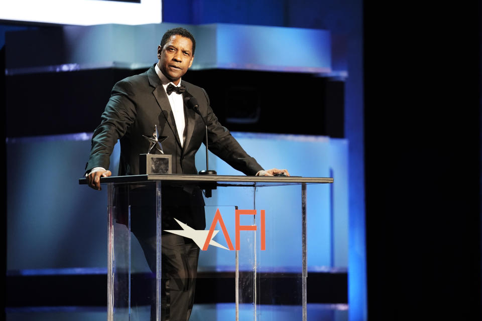 HOLLYWOOD, CALIFORNIA - JUNE 06: Denzel Washington speaks onstage at the 47th AFI Life Achievement Award honoring Denzel Washington at Dolby Theatre on June 06, 2019 in Hollywood, California. (Photo by Erik Voake/Getty Images for WarnerMedia) 610530