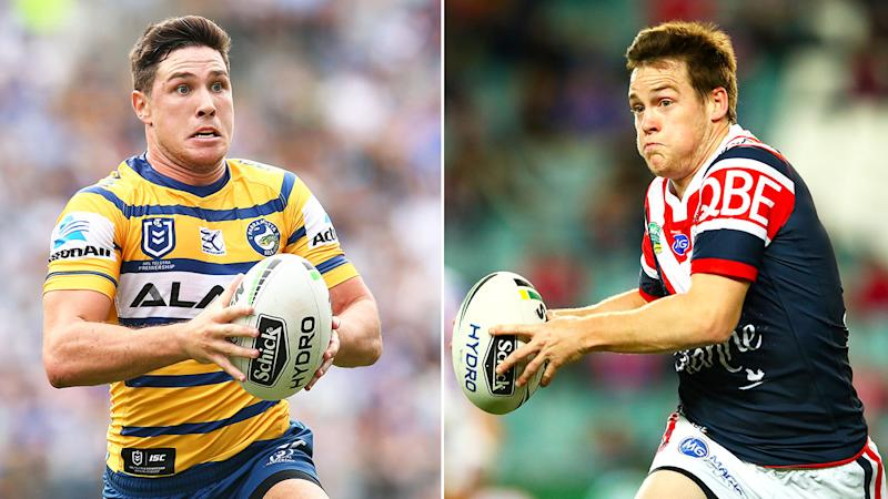 Seen here, Eels half Mitchell Moses and Roosters playmaker Luke Keary.