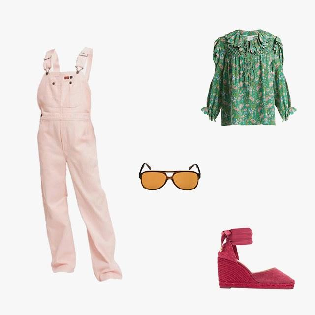 Dickies 1922 x Opening Ceremony overalls, $110, openingceremony.com; Horror Vacui defensia scallop ruffle-trimmed silk blouse, $724, matchesfashion.com; Céline 62mm oversize aviator sunglasses, $430, shop.nordstrom.com; Castañer lace-up espadrille wedges, $107, farfetch.com