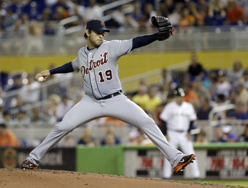 Detroit Tigers' Anibal Sanchez (19) pitches against the Miami Marlins in the first inning of an interleague baseball game, Saturday, Sept. 28, 2013, in Miami. (AP Photo/Alan Diaz)