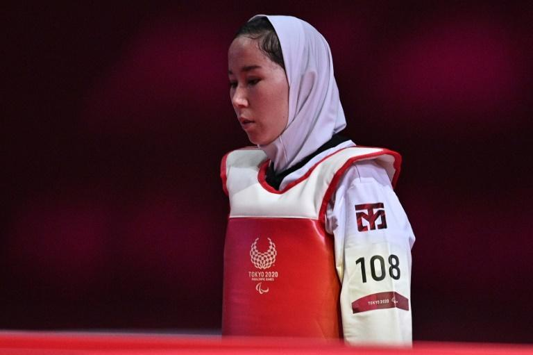 Zakia Khudadadi gave Afghans another reason to watch taekwondo when competing in the Tokyo Paralympics (AFP/Philip FONG)