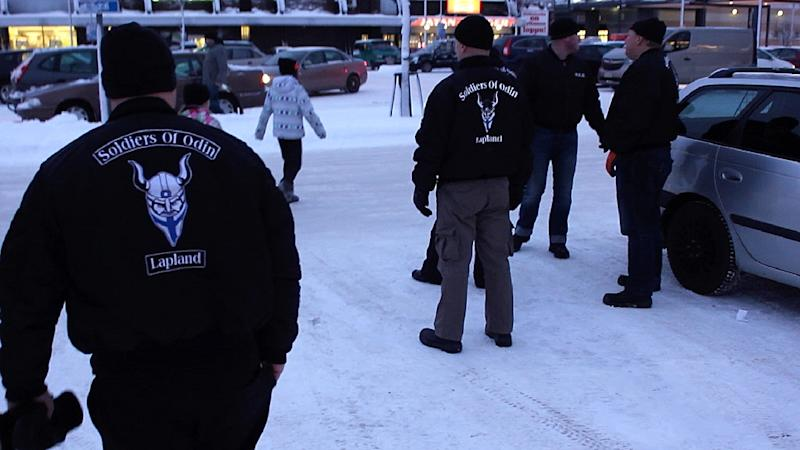 A group of men calling themselves the 'Soldiers of Odin' in Kemi, northern Finland