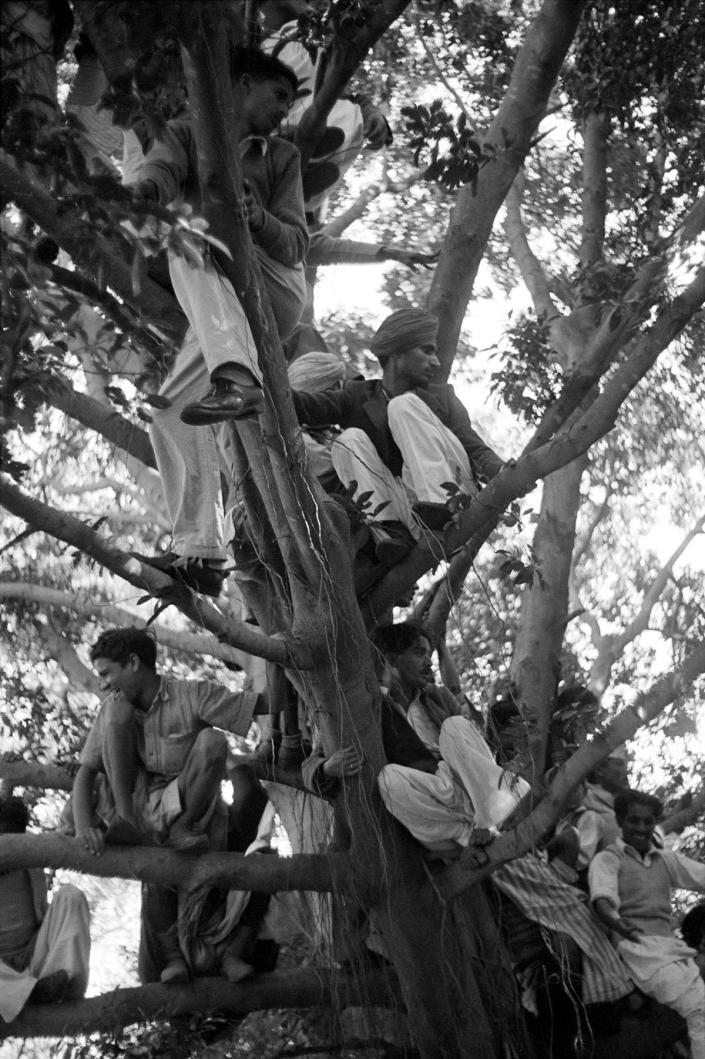 """<p>""""Crowds wait for Gandhi's funeral cortege to pass by on its way to the Sumna river."""" Delhi, India • 1948. (Photo: Henri Cartier-Bresson/Magnum Photos) </p>"""
