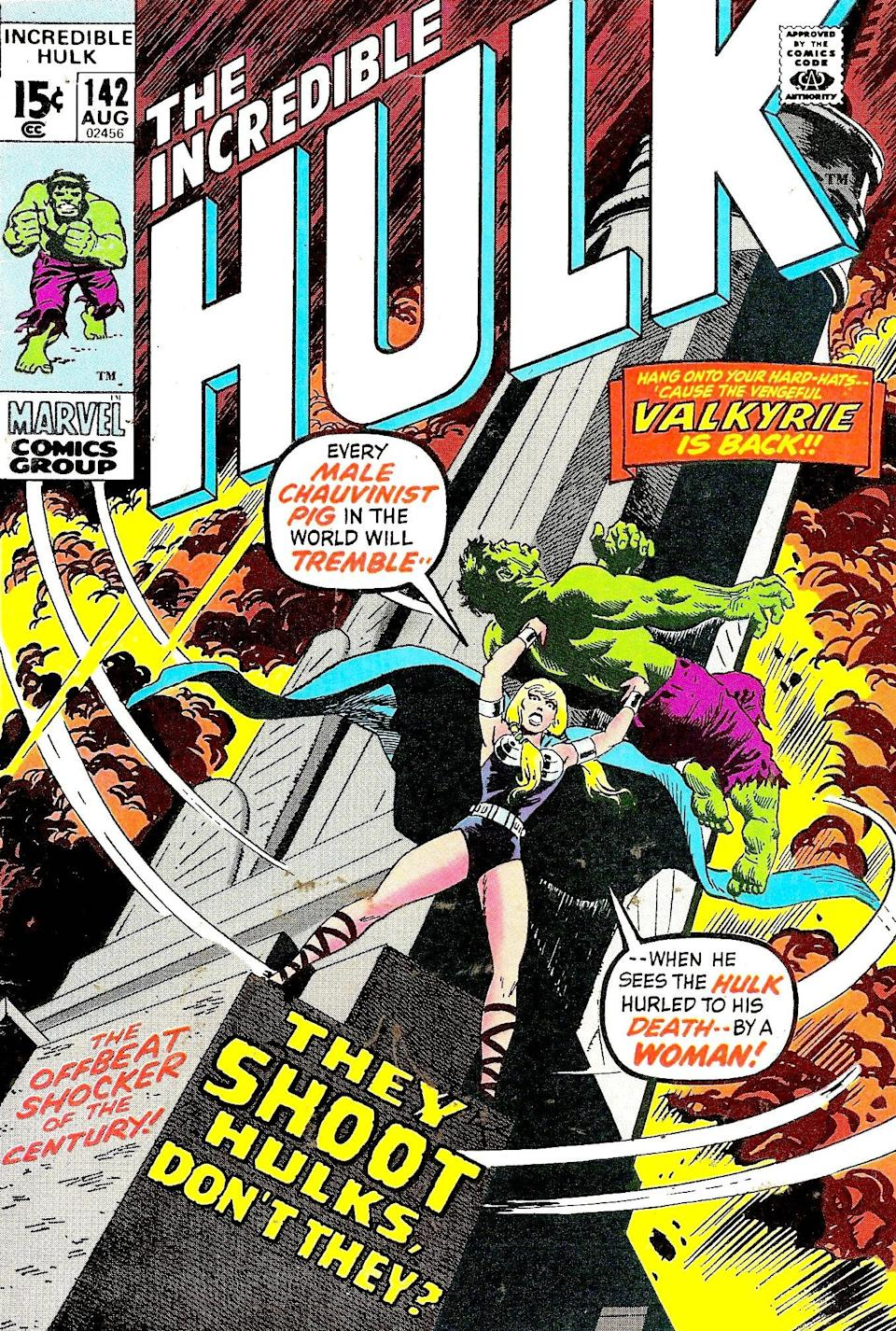 Valkyrie vs. Hulk on the cover of <i>The Incredible Hulk</i> 142. (Image: Marvel Comics)