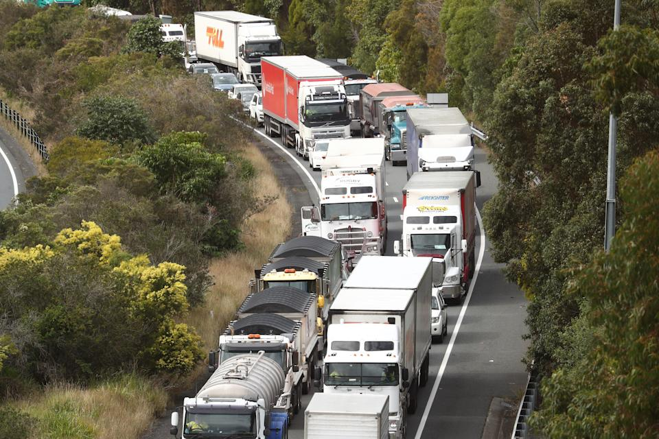 Scenes on the Pacific Motorway at the Queensland and New South Wales border on the Gold Coast last month. Source: AAP