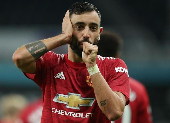 Manchester United midfielder Bruno Fernandes celebrates his goal against Newcastle