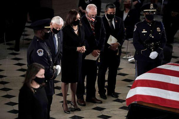 PHOTO: House Majority Leader Steny Hoyer, Democratic vice presidential candidate Sen. Kamala Harris, House Minority Whip Steve Scalise, and Rep. Ben Lujan, pay respects at the casket of Justice Ruth Bader Ginsburg, Sept. 25, 2020, in Washington. (Greg Nash/POOL via AP)
