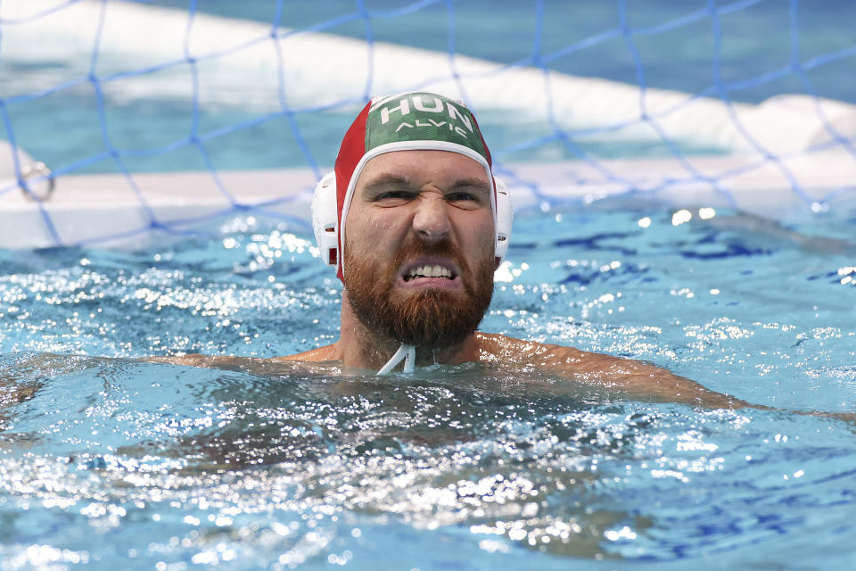 <p>TOKYO, JAPAN - JULY 25: Viktor Nagy of Team Hungary reacts after conceding a goal during the Men's Preliminary Round Group A match between Hungary and Greece on day two of the Tokyo 2020 Olympic Games at Tatsumi Water Polo Centre on July 25, 2021 in Tokyo, Japan. (Photo by Leon Neal/Getty Images)</p>