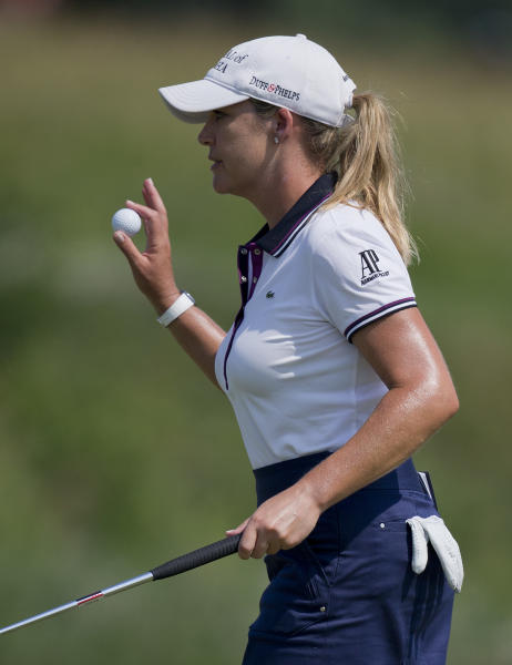 Cristie Kerr reacts after sinking a putt for par on six during the second round of the U.S. Women's Open golf tournament, Friday, July 6, 2012, in Kohler, Wis. (AP Photo/Julie Jacobson)