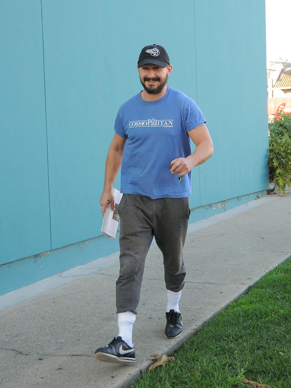 <p>Shia makes tucking high socks over a pair of joggers look cool.</p>