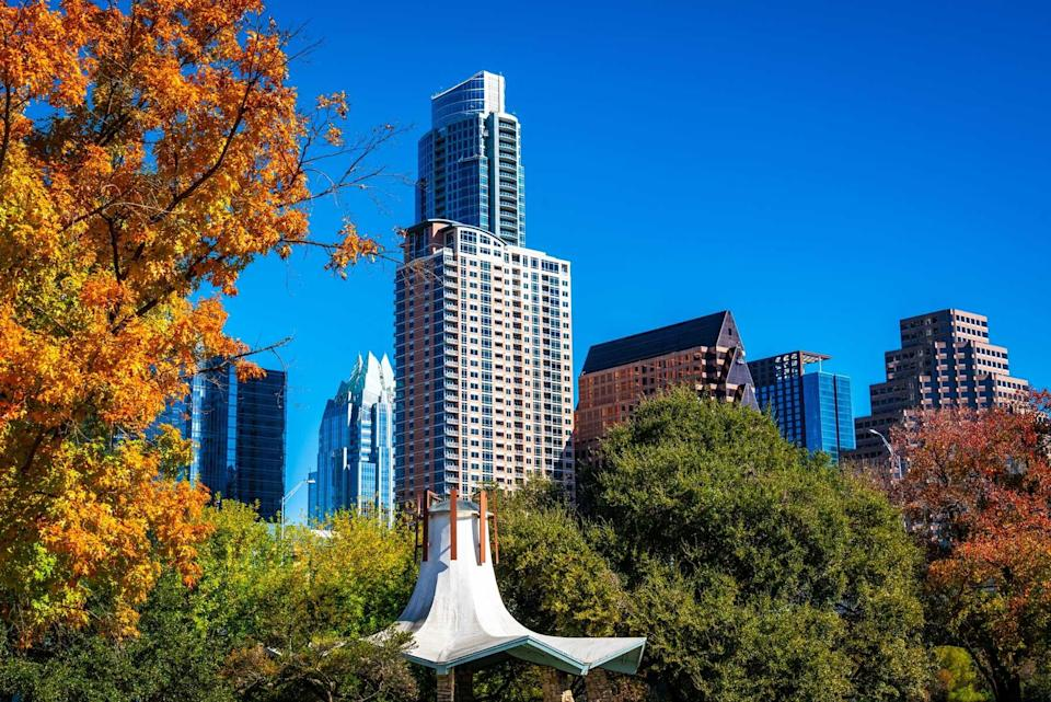 Fall Colors and Iconic Austin Texas views of Downtown Skyline