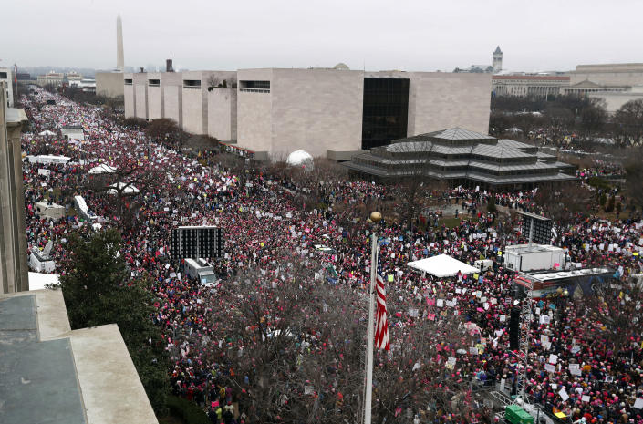 FILE - In this Saturday, Jan. 21, 2017 file photo, a crowd fills Independence Avenue with the Washington Monument in the background, during the Women's March on Washington. The largest single-day protest in U.S history — the Women's March — came the day after Donald Trump's presidential inauguration. (AP Photo/Alex Brandon)