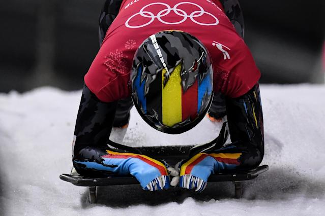 <p>The helmet matching the forearms is a smooth look for Belgium's Kim Meylemans. </p>