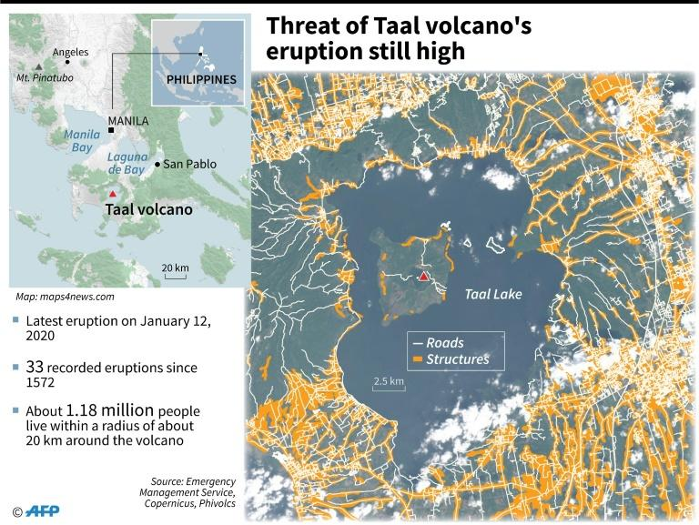 Satellite image of Taal volcano, with roads and structures. Seismologists warned that the threat of another eruption remains high