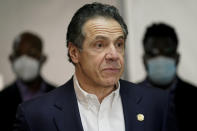 New York Governor Andrew Cuomo speaks before getting vaccinated at a church in the Harlem section of New York, Wednesday, March 17, 2021. (AP Photo/Seth Wenig, Pool)