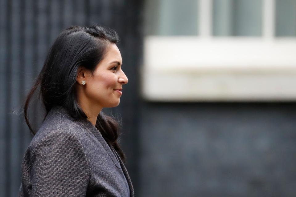 Britain's Home Secretary Priti Patel leaves 10 Downing Street in central London on February 13, 2020 after being confirmed in her position as the prime minister reshuffles his team. - Britain's prime minister revamped his top team on February 13 in his first cabinet reshuffle since taking Britain out of the European Union. (Photo by Tolga AKMEN / AFP) (Photo by TOLGA AKMEN/AFP via Getty Images)