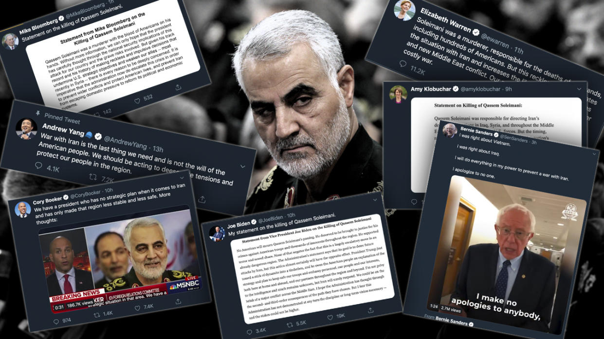 Revolutionary Guard Gen. Qassem Soleimani and tweets from Democratic presidential candidates. (Photo illustration: Yahoo News; photo: Office of the Iranian Supreme Leader via AP)