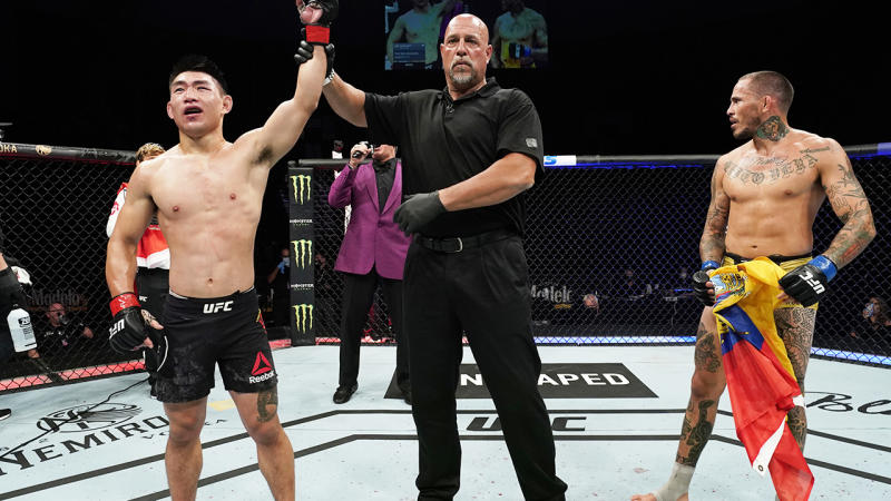 Song Yadong, pictured here celebrating after his decision victory over Marlon Vera at UFC Fight Night 176.