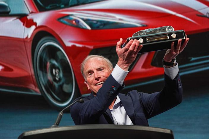 Corvette Chief Engineer Tadge Juechter accepts the award for the 2020 North American Car of the Year at the TCF Center in Detroit on Monday, January 13, 2020.