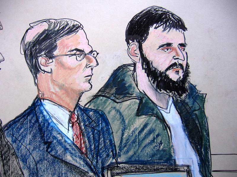 FILE - In this Jan. 9, 2010 courtroom file sketch, defendant Adis Medunjanin, right, accused of becoming an al-Qaida operative, sits with his defense attorney Robert Gottlieb at the federal courthouse in New York. A federal prosecutor said Monday, April 16, 2012, that Medunjanin discussed bombing New York City movie theaters, Grand Central Terminal, Times Square and the New York Stock Exchange before settling on the city's subways. (AP Photo/Elizabeth Williams, File)