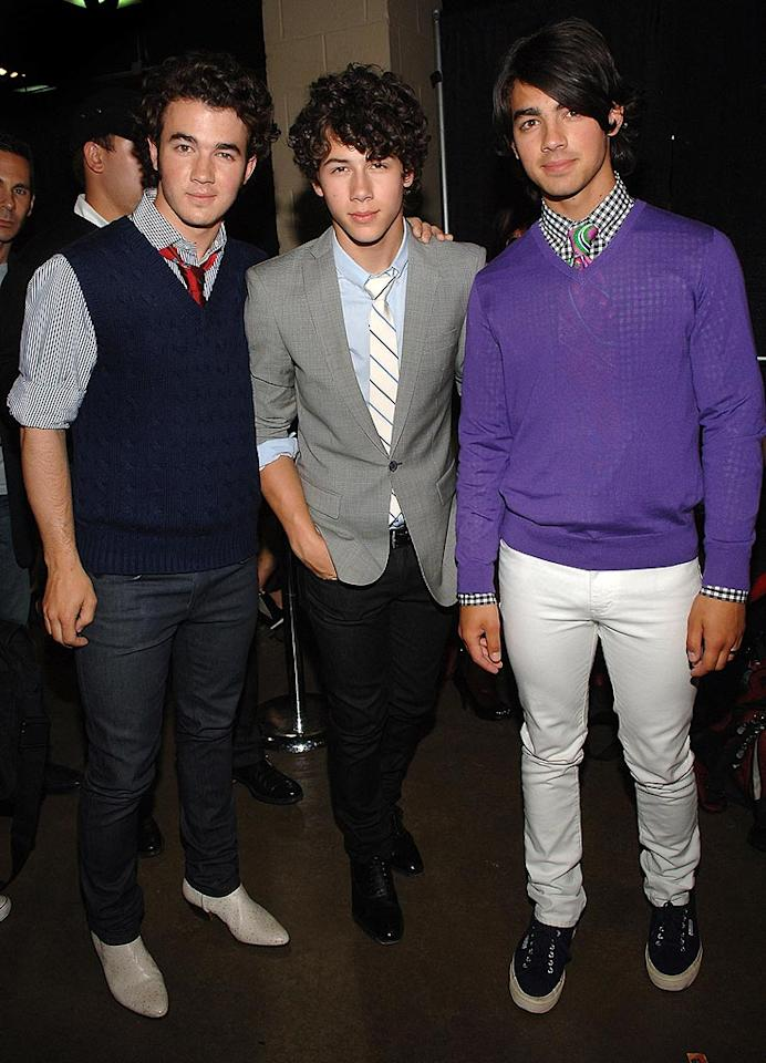 """Kevin, Nick, and Joe Jonas are known to commit crimes against fashion on a daily basis. For some strange reason, these style-challenged teens feel the need to continuously scorch retinas across the land with their too-tight denim and tacky trends. Jamie McCarthy/<a href=""""http://www.wireimage.com"""" target=""""new"""">WireImage.com</a> - May 17, 2008"""