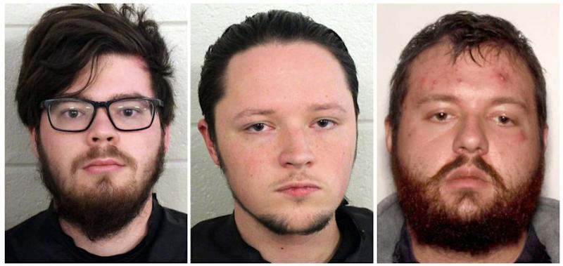 Left to right: Luke Austin Lane, Jacob Kaderli and Michael Helterbrand are all suspected neo-Nazis who allegedly planned to target and kill antifascists. (Photo: Floyd County Police Department)