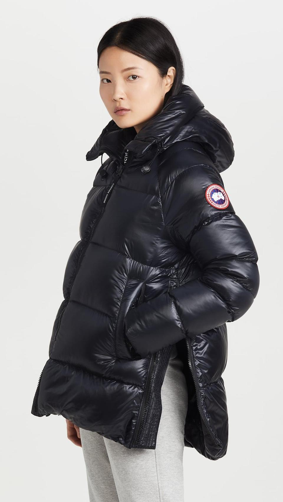 <p>If you want to keep yourself comfortably toasty, invest in this <span>Canada Goose Cypress Puffer Coat</span> ($895). On days where it gets a bit warmer, you can open up the side slits.</p>