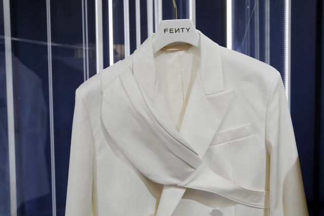 """A creation is displayed as Singer Rihanna, the first black woman in history to head up a major Parisian luxury house, unveiled her first fashion designs for Fenty at a pop-up store in Paris, France, Wednesday, May 22, 2019. Fenty says the brand will be based in Paris, like its parent company, conglomerate LVMH, but will operate from a digital flagship on a """"See-Now-Wear-Now"""" model forgoing to usual luxury fashion seasonal previewed designs. (AP Photo/Francois Mori)"""