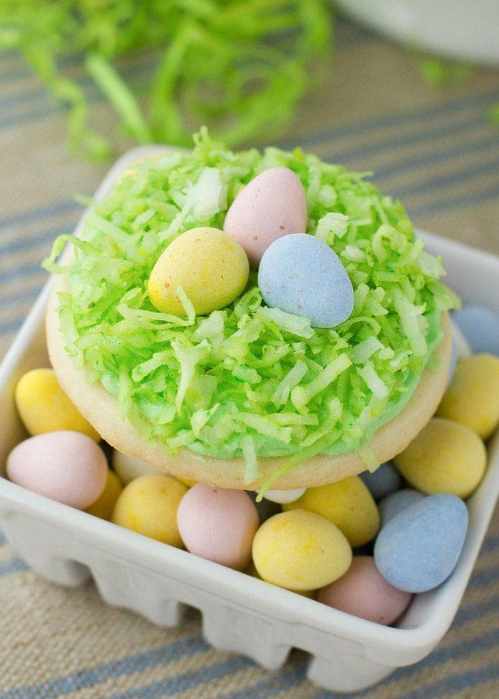 "<p>Create a mini nest of eggs right on top of a homemade sugar cookie. Easy, cute, and so tasty!</p><p><strong>Get the recipe at <a href=""https://lilluna.com/easter-sugar-cookies/"" rel=""nofollow noopener"" target=""_blank"" data-ylk=""slk:Lil' Luna"" class=""link rapid-noclick-resp"">Lil' Luna</a>.</strong></p><p><strong><a class=""link rapid-noclick-resp"" href=""https://go.redirectingat.com?id=74968X1596630&url=https%3A%2F%2Fwww.walmart.com%2Fsearch%2F%3Fquery%3Dpiping%2Bbags&sref=https%3A%2F%2Fwww.thepioneerwoman.com%2Ffood-cooking%2Fmeals-menus%2Fg35408493%2Feaster-desserts%2F"" rel=""nofollow noopener"" target=""_blank"" data-ylk=""slk:SHOP PIPING BAGS"">SHOP PIPING BAGS</a></strong> </p>"