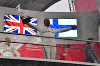 Rain king: Hamilton wins the 2018 German Grand Prix at Hockenheim from 14th on the grid