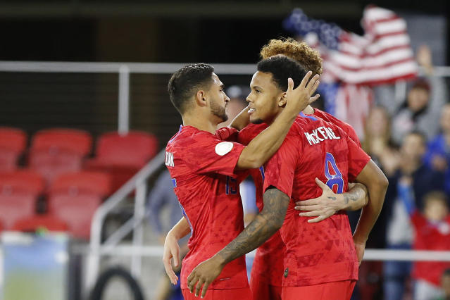 """<a class=""""link rapid-noclick-resp"""" href=""""/soccer/players/1121556/"""" data-ylk=""""slk:Weston McKennie"""">Weston McKennie</a> (8) recorded the quickest hat trick from the opening whistle in USMNT history in the 7-0 win over Cuba. (Reuters)"""