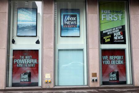 A white board is seen where a poster for former Fox News Channel TV anchor Bill O'Reilly used to hang outside Fox News Channel and News Corporation Headquarters in New York City, in New York, U.S., April 20, 2017. REUTERS/Shannon Stapleton