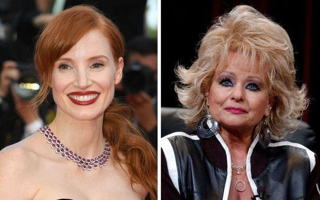 Jessica Chastain and Tammy Faye Bakker. (Photo: Pascal Le Segretain via Getty Images/Gregg DeGuire via Getty Images)