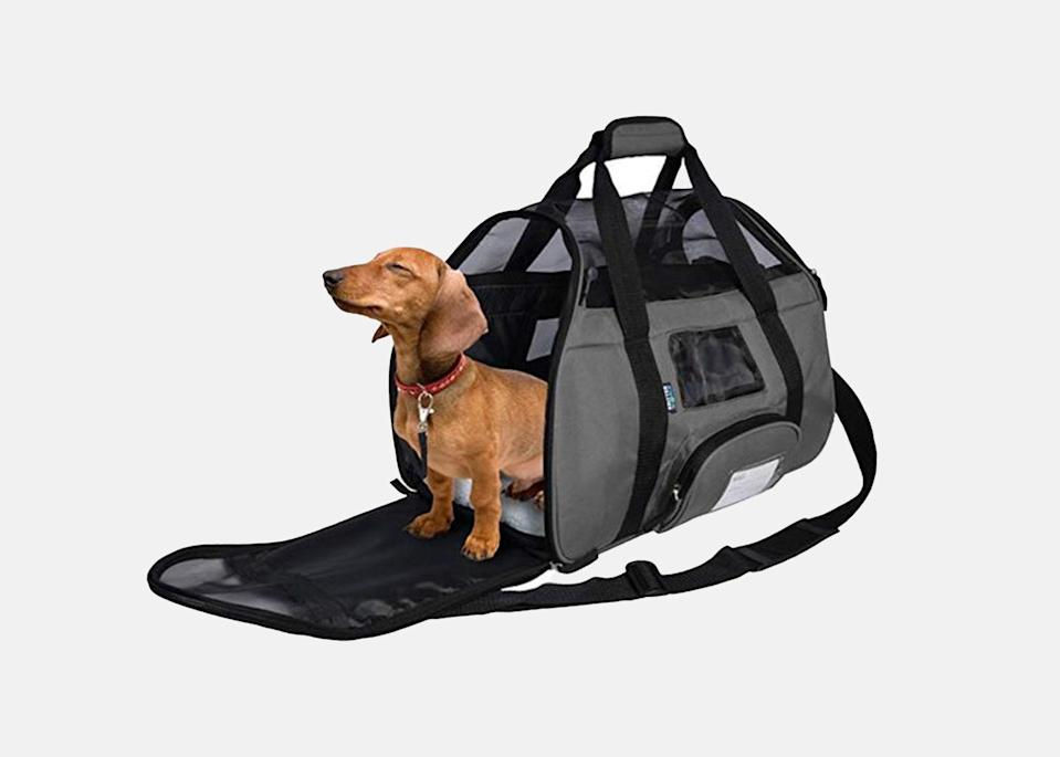"""<p>If you find yourself in a last-minute pinch and don't want to make a longterm investment, this is the carrier for you. Durable and lightweight, it includes a removable, sherpa-lined bed and four mesh sides to keep your pet cool and ventilated during the summer. The best part? It comes in at just under $25.</p> <p><strong>Buy now:</strong> <a href=""""https://amzn.to/3g14Bh2"""" rel=""""nofollow noopener"""" target=""""_blank"""" data-ylk=""""slk:$23, amazon.com"""" class=""""link rapid-noclick-resp"""">$23, amazon.com</a></p>"""