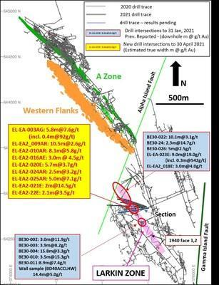 Figure 1: Plan view showing location of Larkin Zone and recent drill traces at Beta Hunt (Previously reported drill intersections to January 31, 2021 are detailed in Karora news releases dated September 10, 2020 and February 1, 2021) (CNW Group/Karora Resources Inc.)