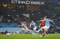 Manchester City's midfielder Kevin De Bruyne misses a first-half penalty against Liverpool